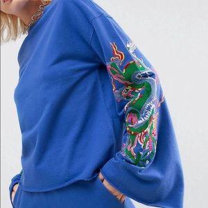ASOS Sweatshirt with Dragon Embroidery Sleeves